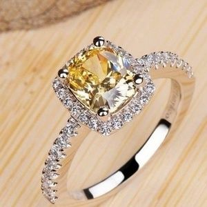 Jewelry - 925 Silver Princess yelow Sapphire New Size 8